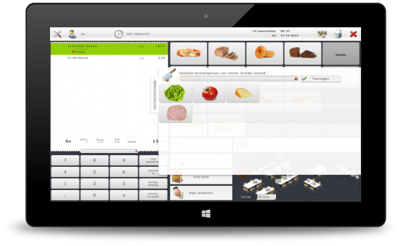 Screenshot horeca tablet